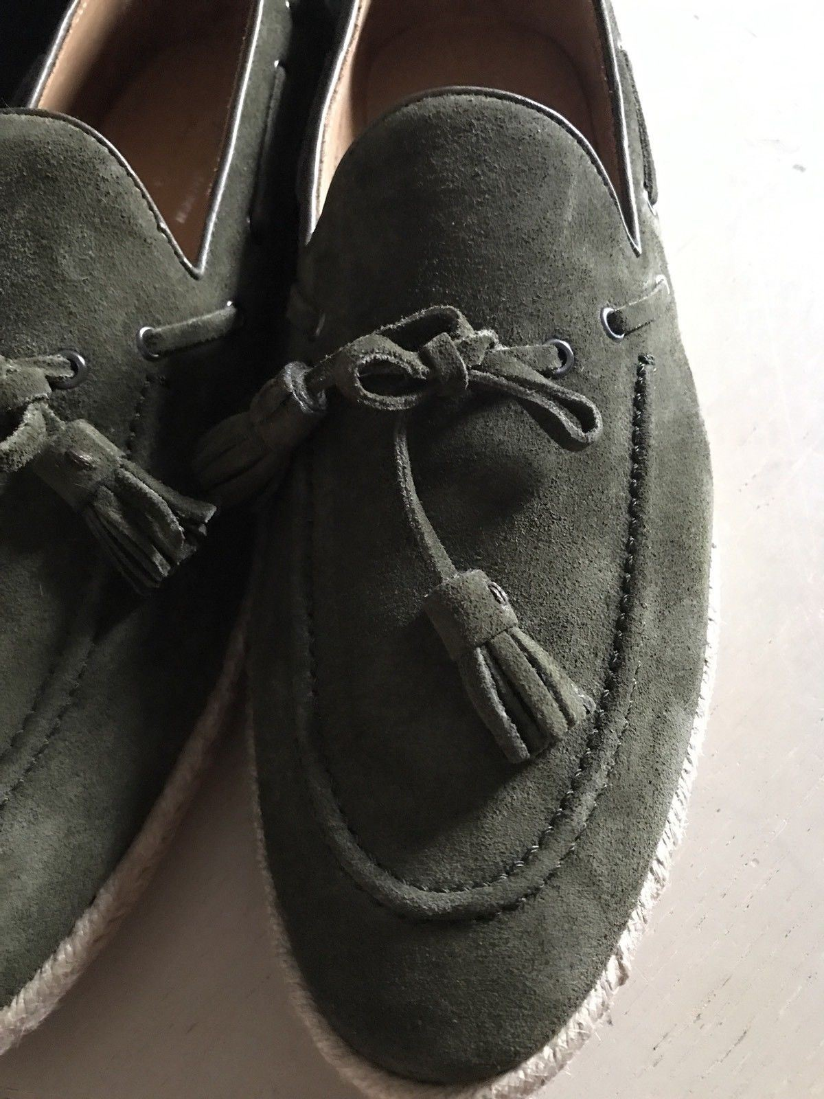 New $495 Men's Ralph Lauren Purple Label Calf Suede Loafers Shoes Green 7.5 US - BAYSUPERSTORE