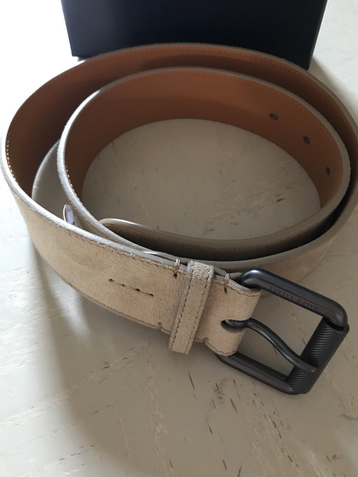 New $495 Ralph Lauren Purple Label Mens Genuine Suede Belt 32/80 Italy - BAYSUPERSTORE