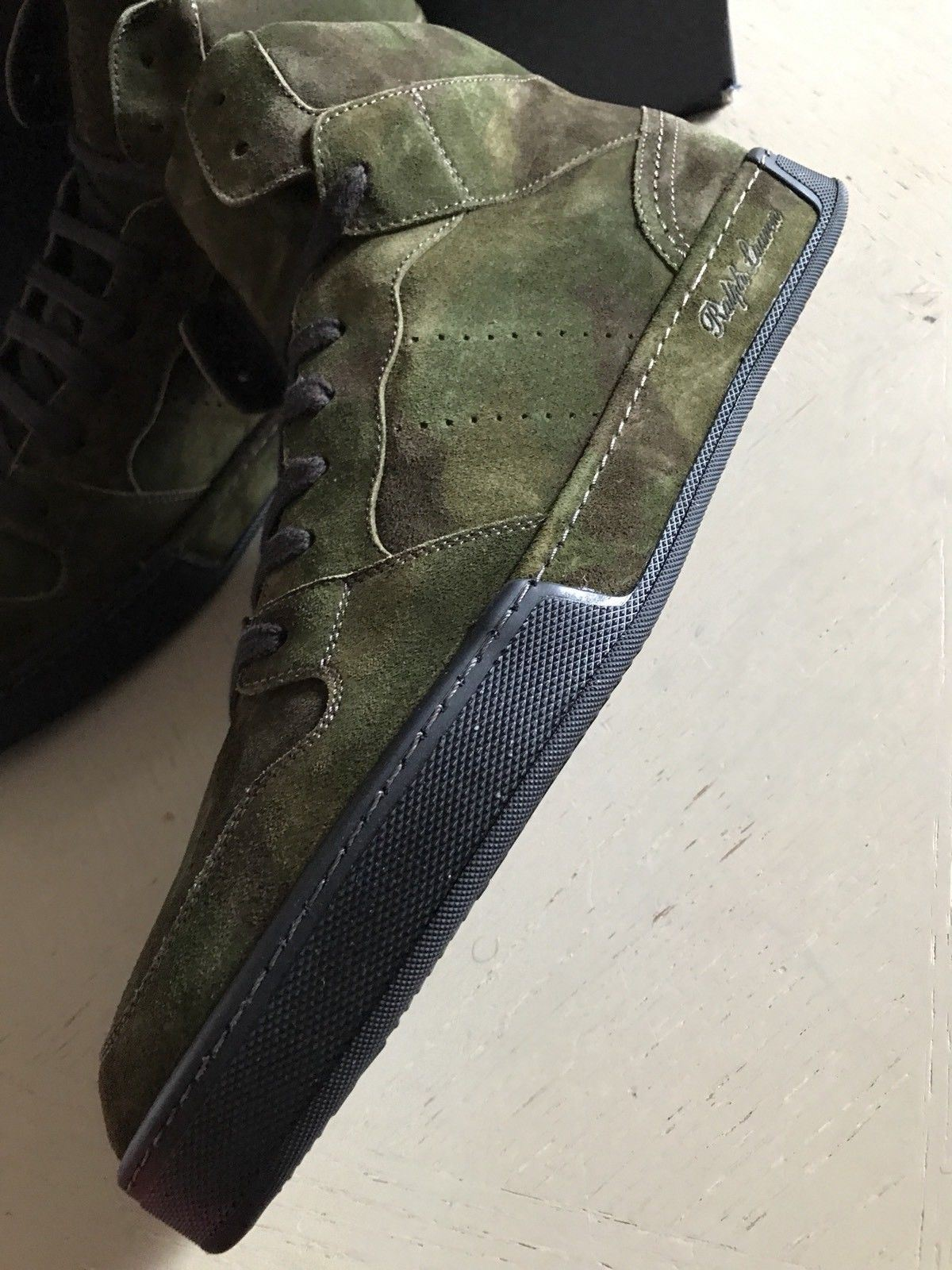 New $895 Men's Ralph Lauren Purple Label Suede Sneakers Boots Shoes Green 9 US - BAYSUPERSTORE