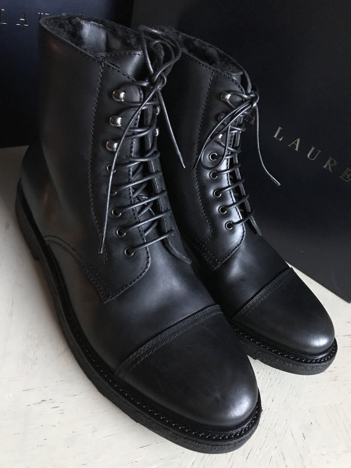 New $1100 Ralph Lauren Purple Label Men Shearling Lined Boots Shoes Black 9.5 US - BAYSUPERSTORE