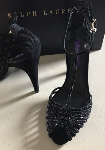 NIB $1400 Ralph Lauren Purple Label Women Sandal Shoes Black 7 US ( 37 Eu ) - BAYSUPERSTORE