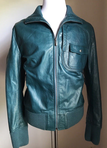 New $4800 Bottega Veneta Men's Leather Jacket Blue Petroleum Blue 44 US ( 54 Eu)