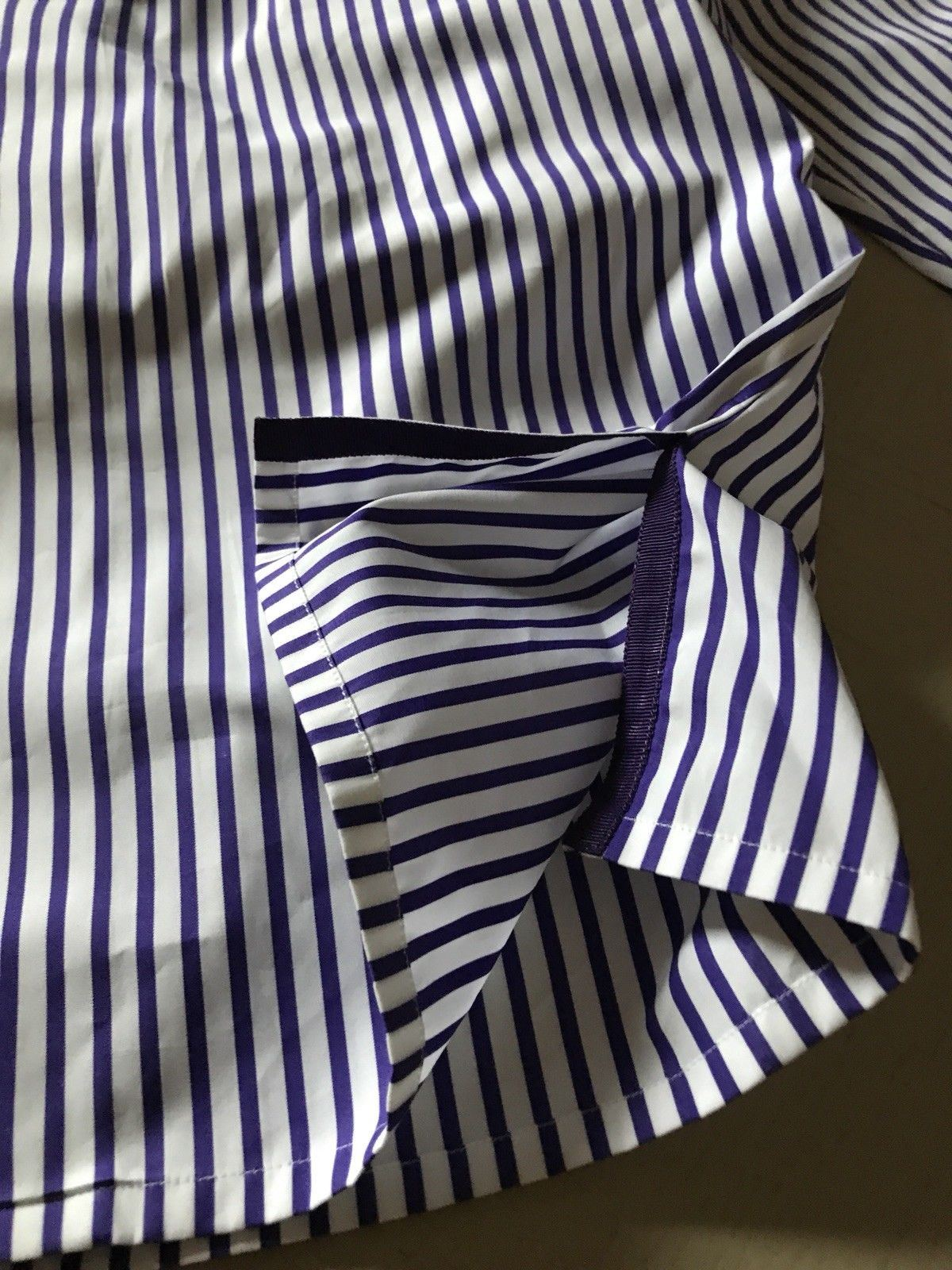 New $590 Ralph Lauren Purple Label Women's Shirt Purple/White Size 8 Italy - BAYSUPERSTORE