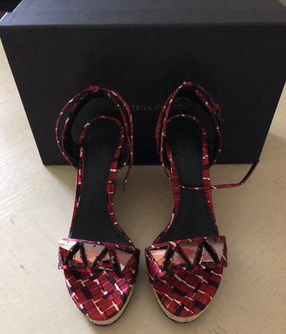 NIB $990 Bottega Veneta Women's Sandal Shoes Red 7 US ( 37 Eu ) Italy