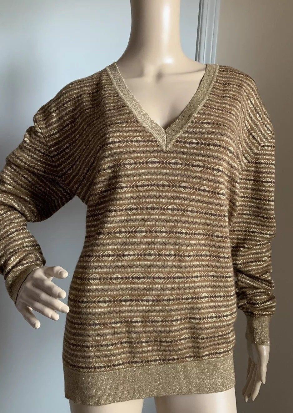New $1450 Ralph Lauren Purple Label Women's V Neck Sweater LT Tobacco L Italy