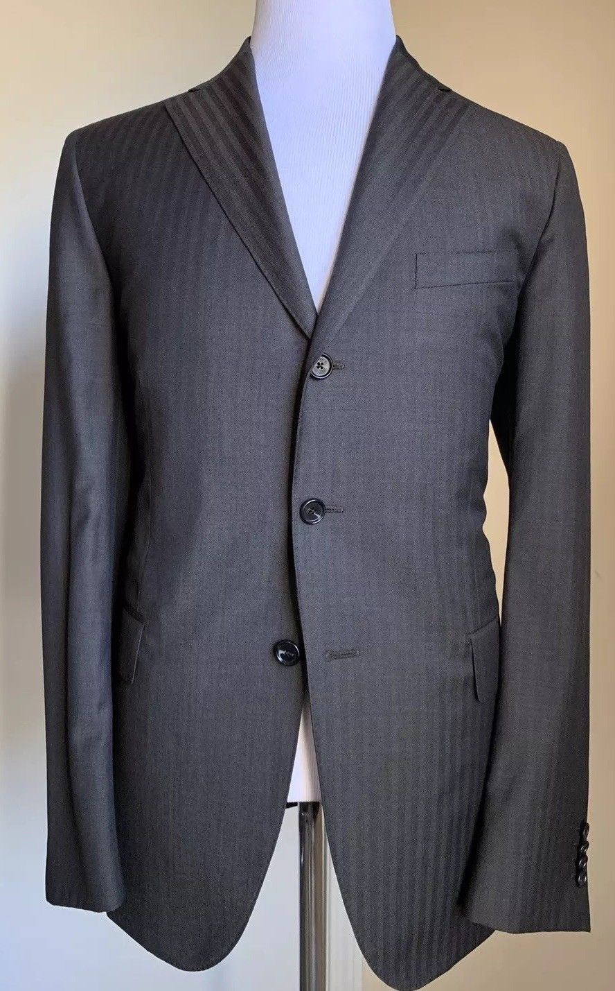 New $1500 Caruso Mens Neaplitan Suit Super 110S DK Brown 44R US ( 54R Eur) Italy