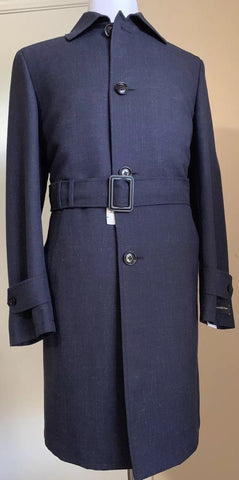 New $3850 Ermenegildo Zegna Trench Coat Coat DK Blue/Navy 38R US ( 48R Eu ) Ita.