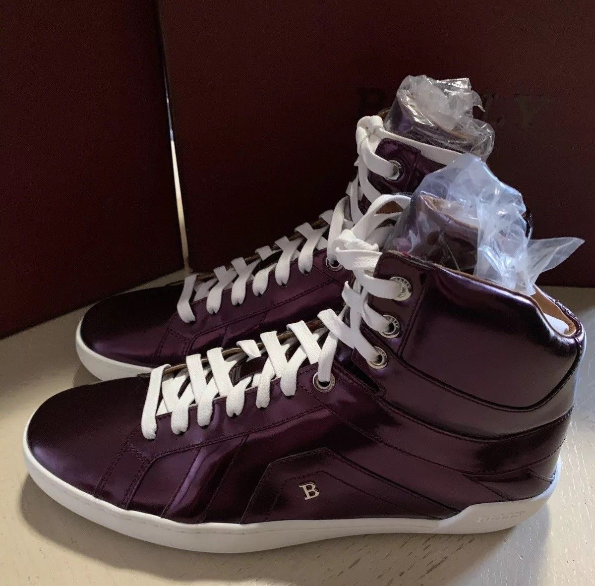 New $700 Bally Men Eticon Leather High-Top Sneakers Merlot 8 US Switzerland