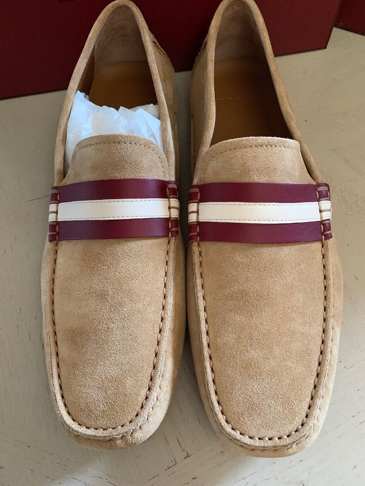 New $550 Bally Men Walker Suide Driver Loafers Shoes Khaki 11 US Italy
