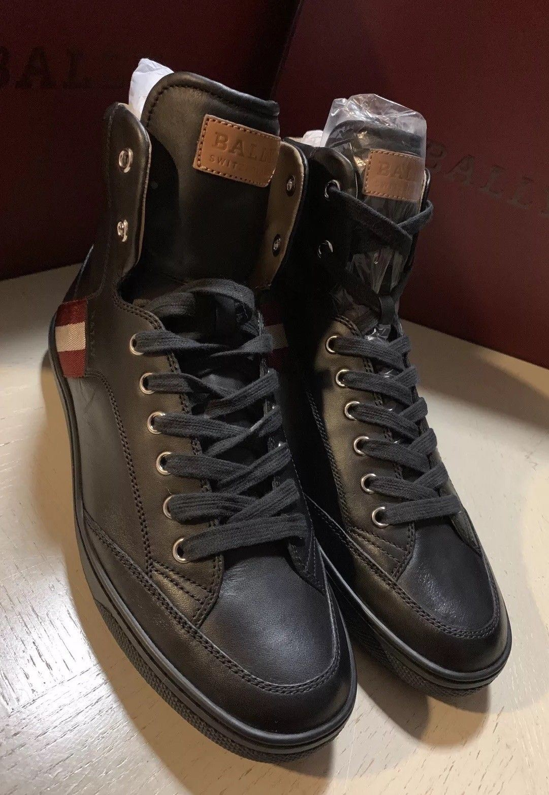 New $650 Bally Men Oldani Leather High-Top Sneakers Black 7 US Italy