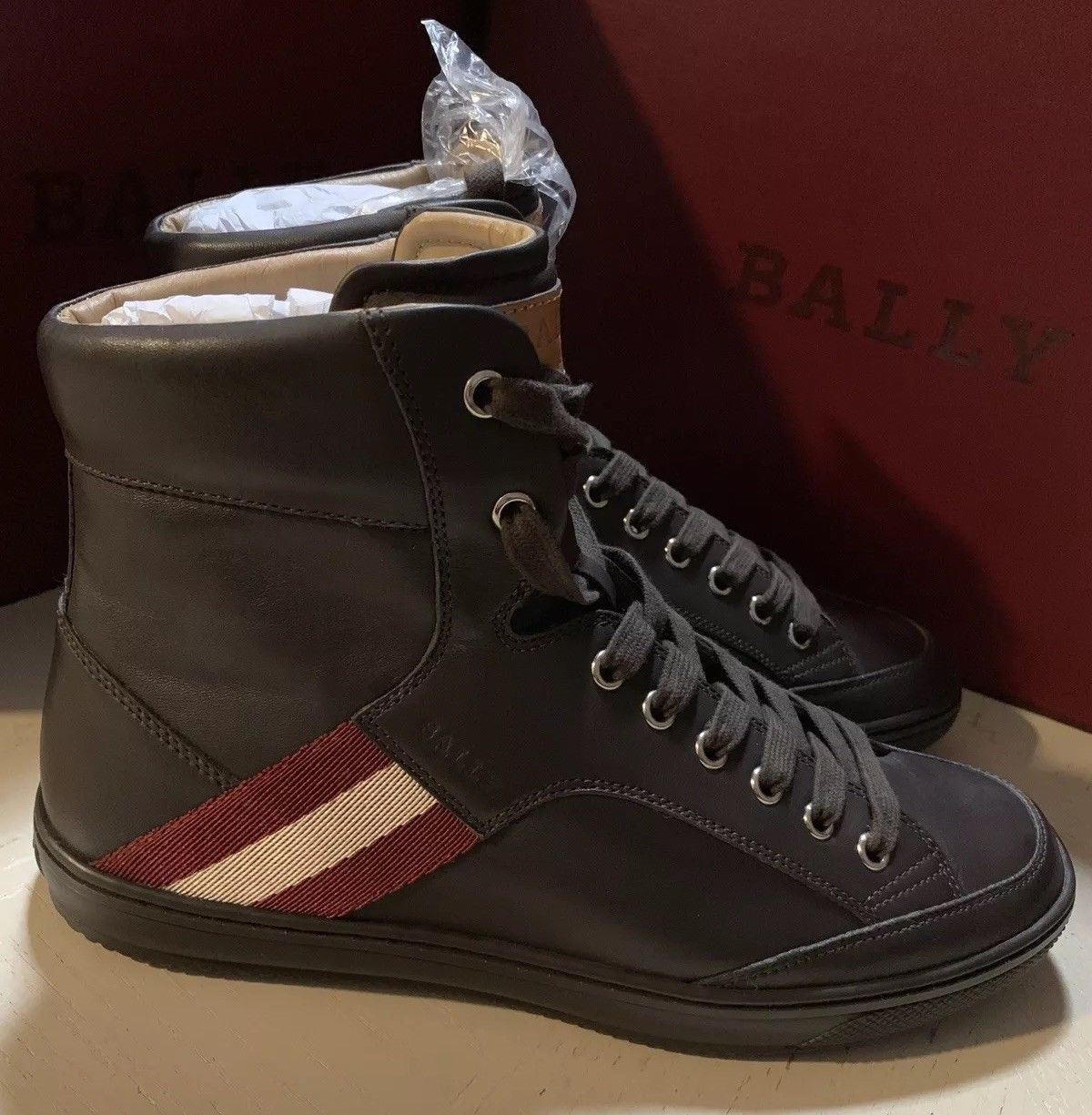 New $650 Bally Men Oldani Leather High-Top Sneakers Brown ( Chocolate ) 6.5 US