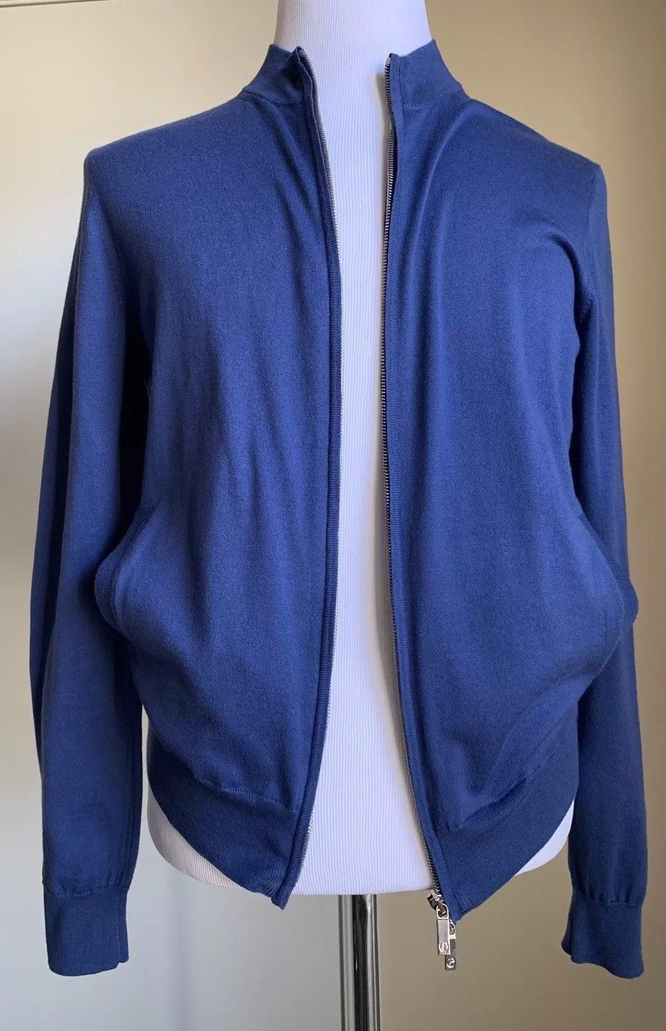 New $1695 Giorgio Armani Mens Full Zip Jacket Sweater Blue M US ( 50 Eu ) Italy