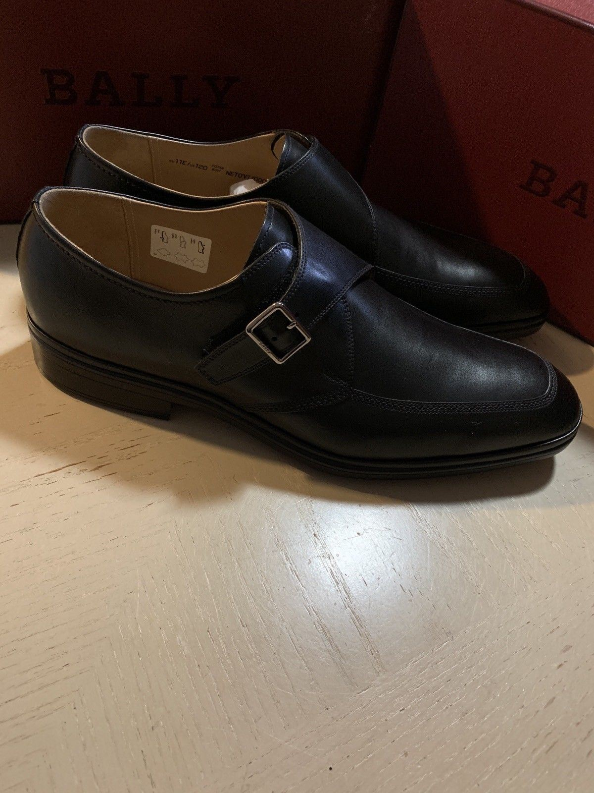New $495 Bally Men Netovi Leather Very Light Shoes Black 12 US ( 45 Eu )