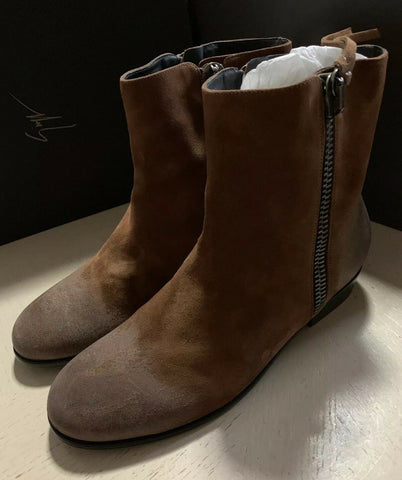 New $1190 Zanotti Mens Suede Boots Shoes DK Brown 8 US ( 41 Eu ) Italy