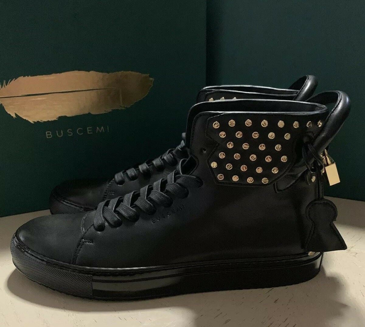 New $2570 BUSCEMI Men Leather High-Top Sneakers Black 9 US ( 42 Eu ) 1125SCSP15
