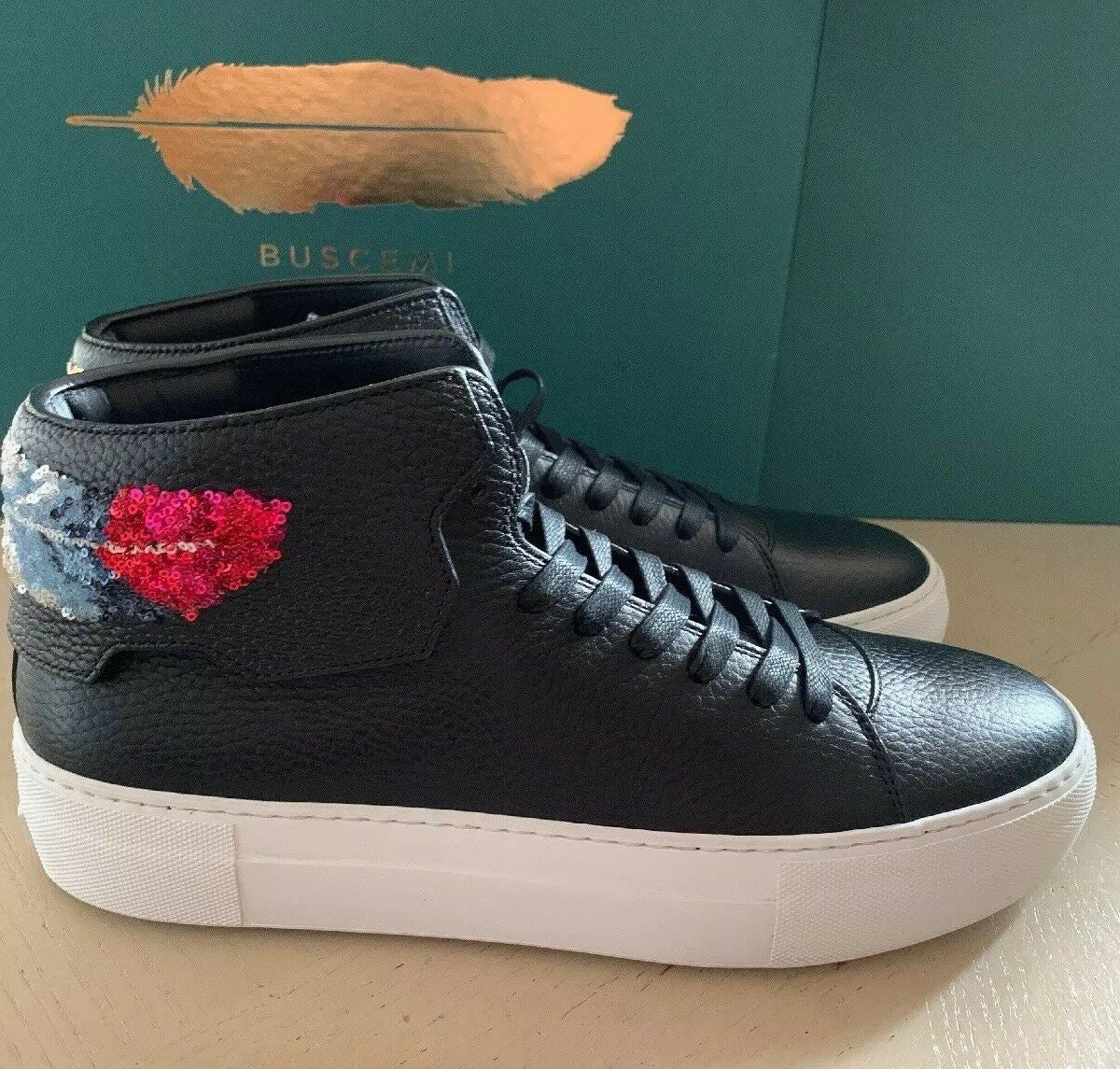 New $1560 BUSCEMI Men Leather High-Top Sneakers Black 9 US ( 42 Eu ) 1090LS16