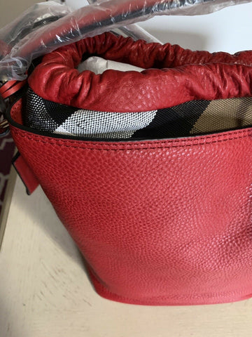 New $1095 Burberry Womens Leather Hobo Bag Red/Beige