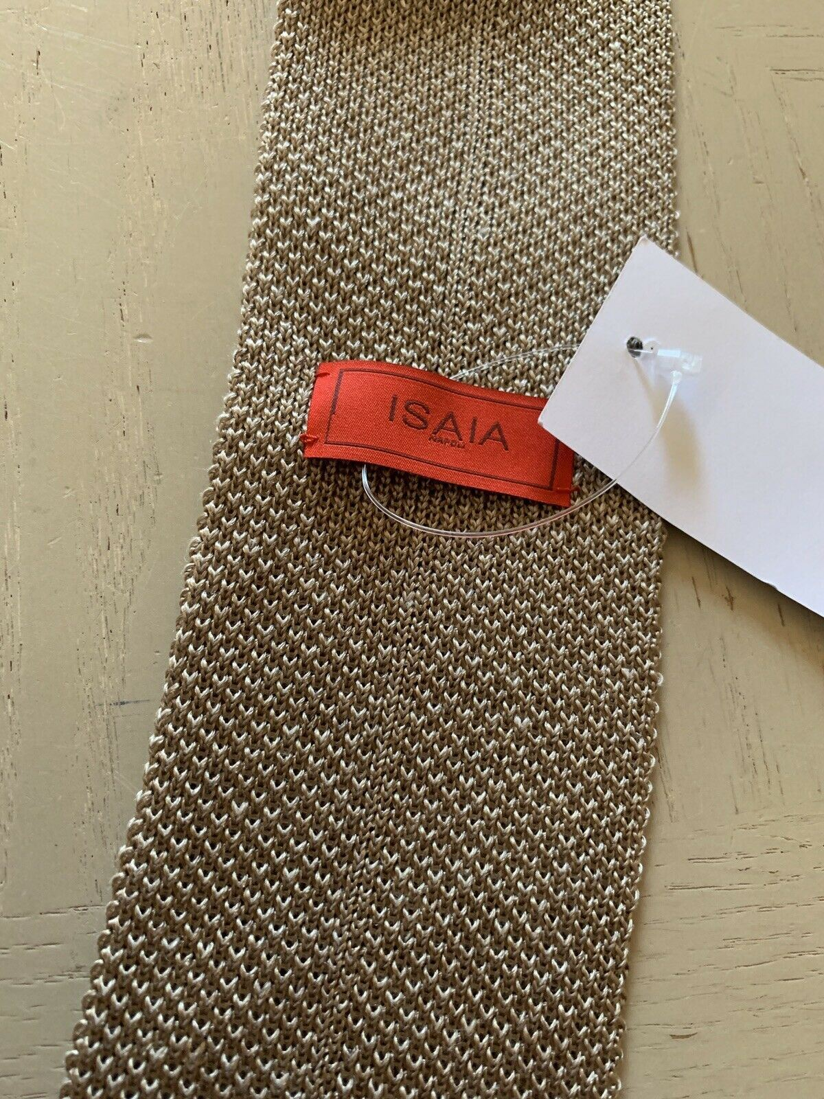New $185 Isaia Skinny Neck Medium Brown Made in Italy