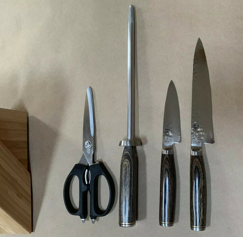 New SHUN Premier 5-Piece Knife Block Set Hand made Japan