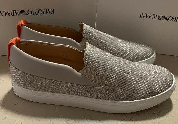 New $495 Emporio Armani Mens Leather  Sneakers Gray 12.5 US/11.5 UK X4X184 Spain