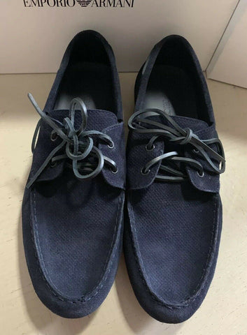 New $495 Emporio Armani Mens Suede Drivers Shoes DK Blue 10.5 US/9.5 UK