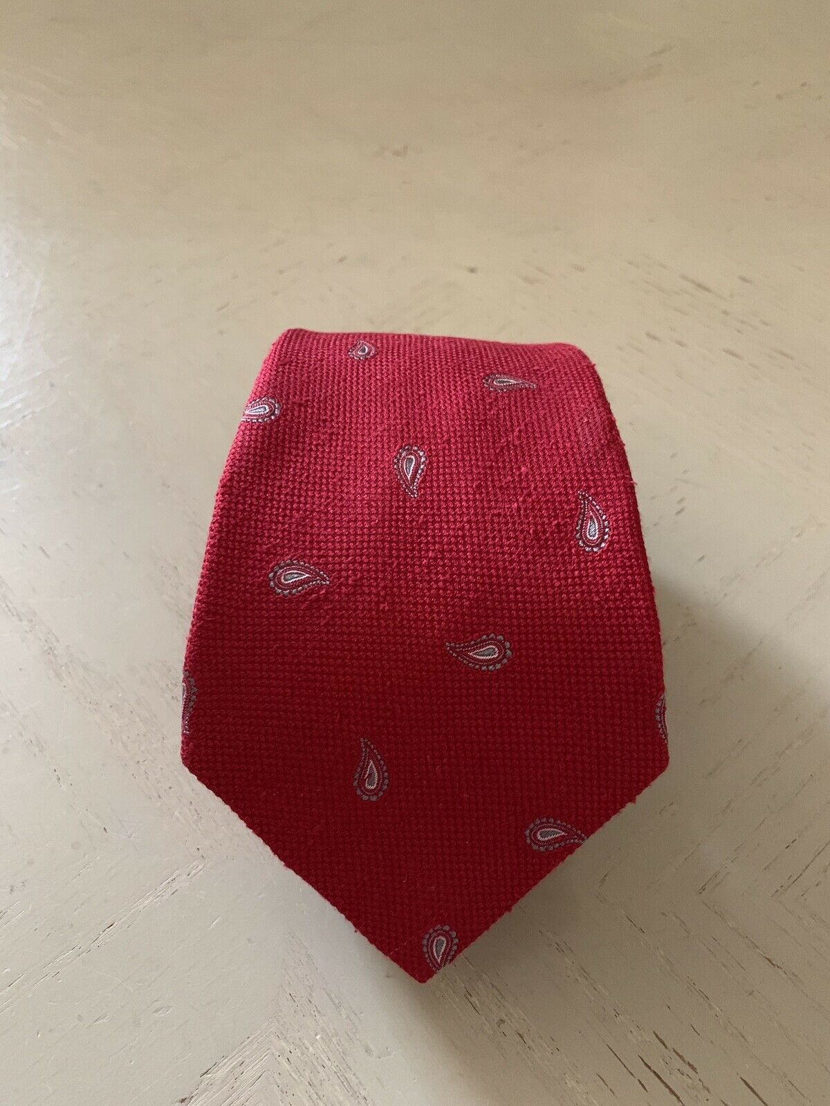 New $225 Isaia Silk Neck Tie Red Made in Italy