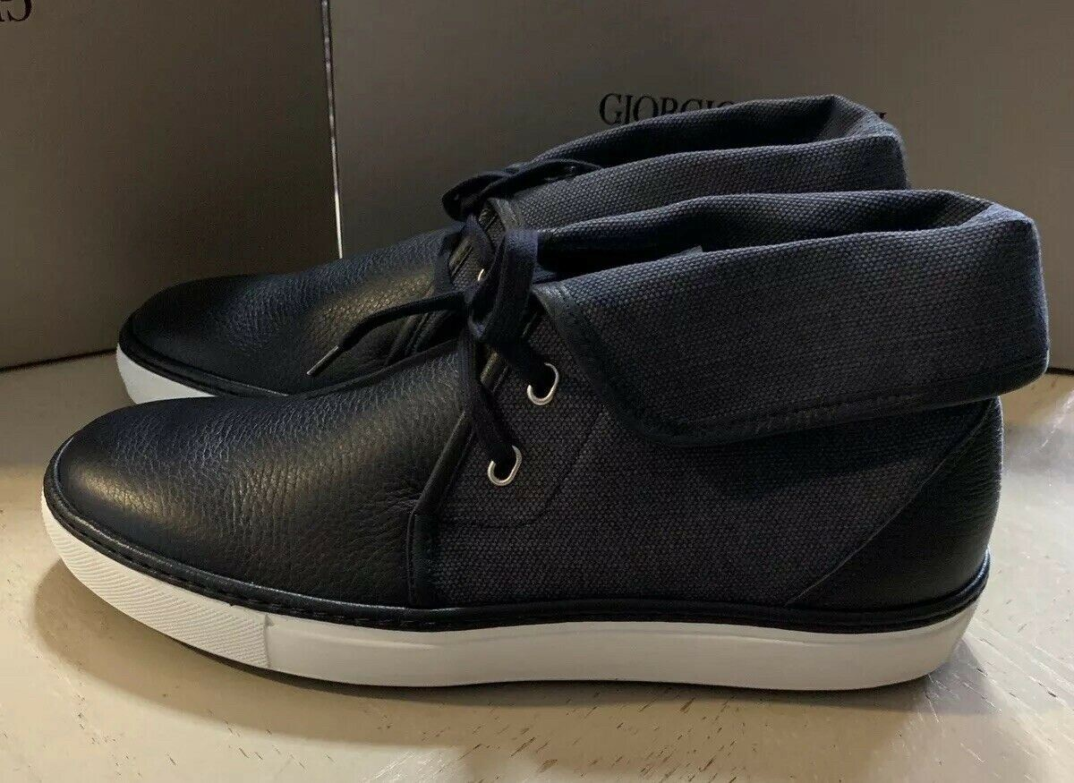 New $945 Giorgio Armani Mens Leather Sneakers Shoes Navy ( Night) 12 US X2M248