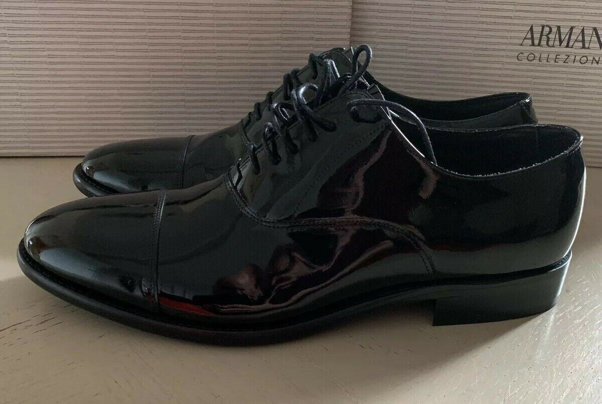 New $625 Armani Collezioni Mens Leather Oxford Shoes Black 10 US/43 Eu Italy