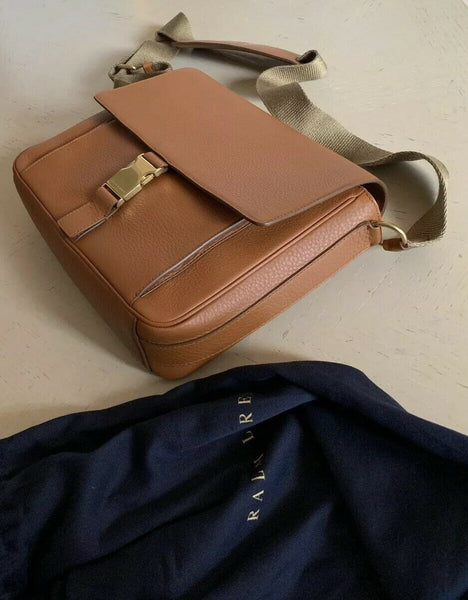 New $1200 Ralph Lauren Purple Label Leather Messenger Sholder Bag Brown Italy