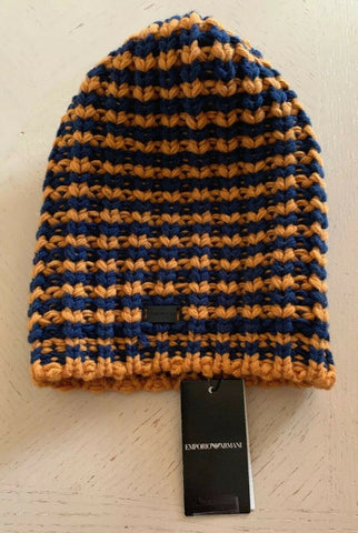NWT $175 Emporio Armani Mens Beanie Hat Blue/Yellow Size L Italy