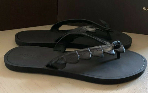 NIB $620 Bottega Veneta Men Crocodile Flip Flop Sandal Shoes Black 9 US/42 Eu