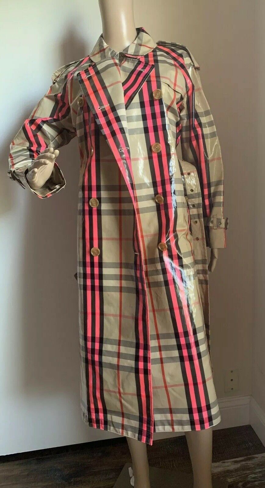 New $2595 Burberry Women's Trench Coat, Coat Neon Pink 6 US ( 40 It ) Italy