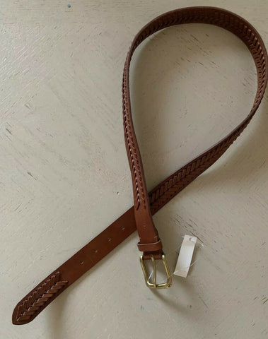 New $350 Ralph Lauren Mens Genuine Leather Belt Brown 34/85 Italy