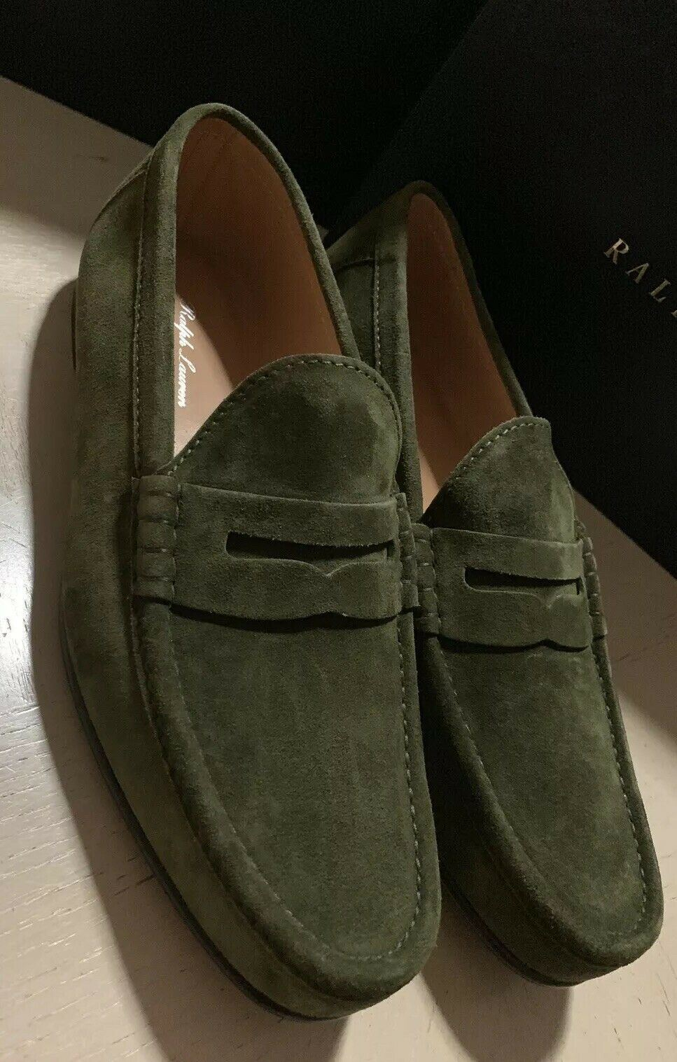 New $895 Men's Ralph Lauren Purple Label Suede Loafers Shoes Green 9 US Italy