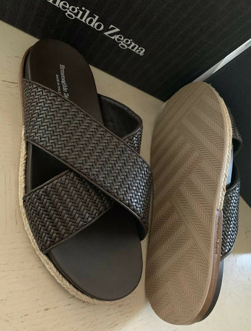 New $695 Ermenegildo Zegna Leather Sandal Shoes DK Brown 9.5 US Italy
