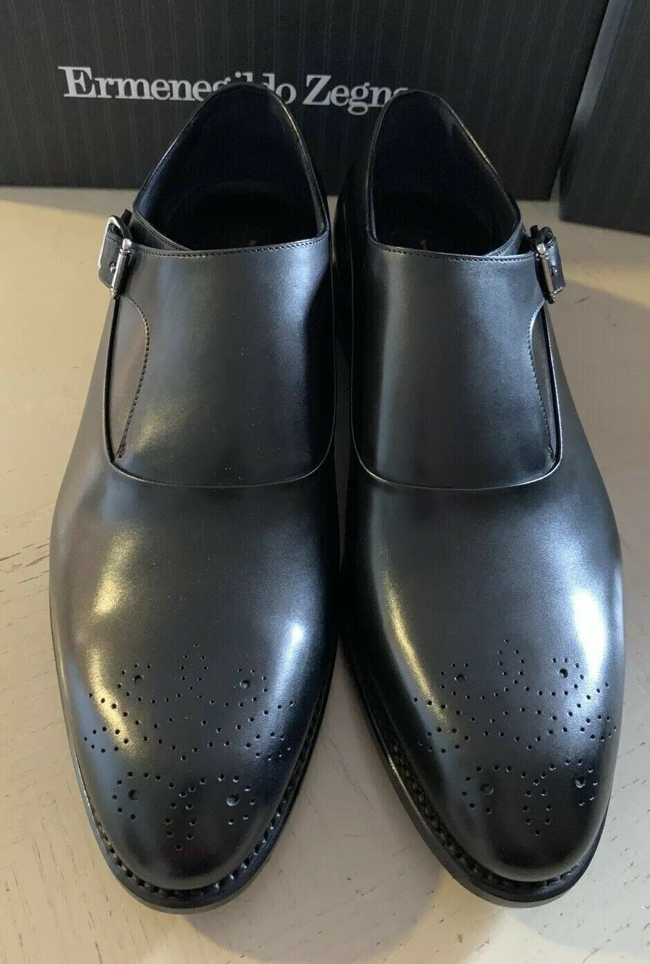 New $1350 Ermenegildo Zegna Couture Monk Brogues Leather Shoes Black 10 US Italy