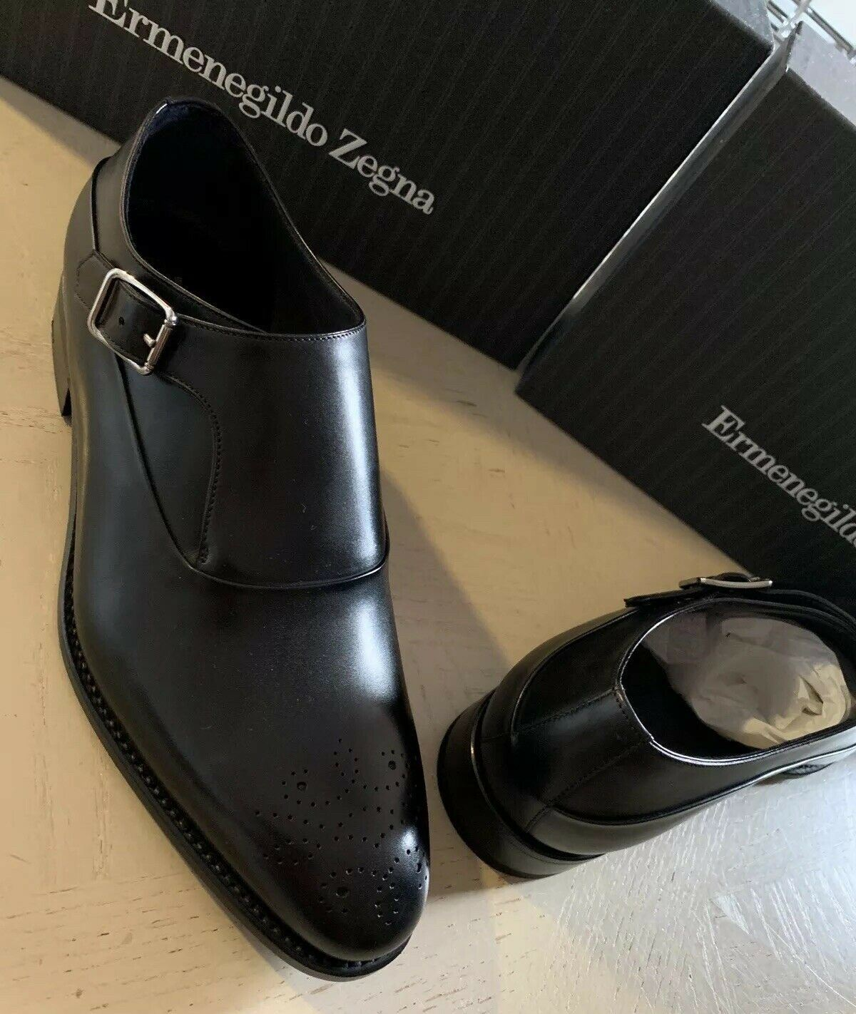 New $1350 Ermenegildo Zegna Couture Monk Brogues Leather Shoes Black 11.5 US Ita