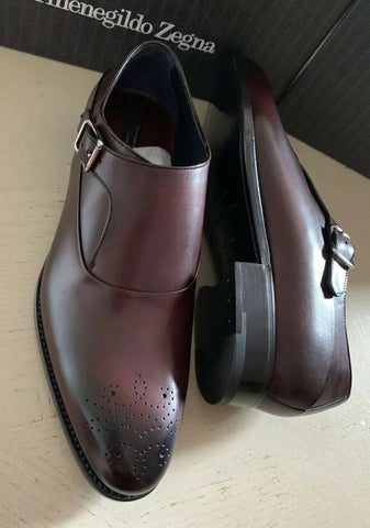 New $1350 Ermenegildo Zegna Couture Monk Brogues Leather Shoes Burgundy 10.5 US