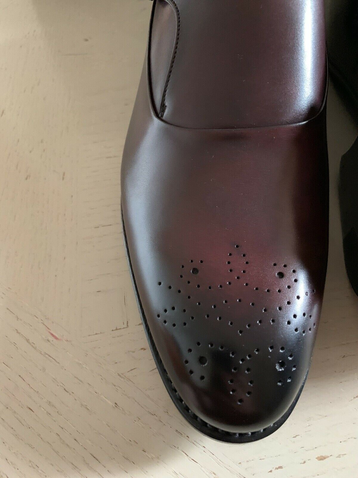 New $1350 Ermenegildo Zegna Couture Monk Brogues Leather Shoes Burgundy 12 US