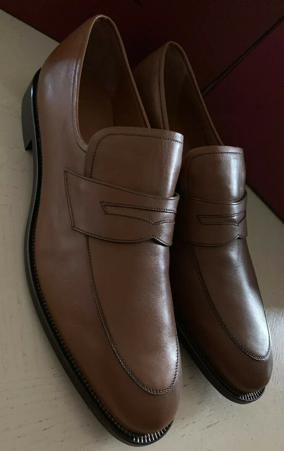 New $725 Bally Men Salasan Calf Plain Leather Loafers Shoes Brown 9.5 US