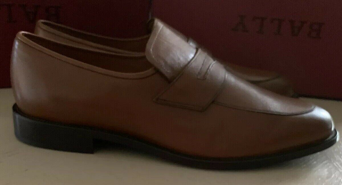 New $725 Bally Men Salasan Calf Plain Leather Loafers Shoes Brown 8.5 US
