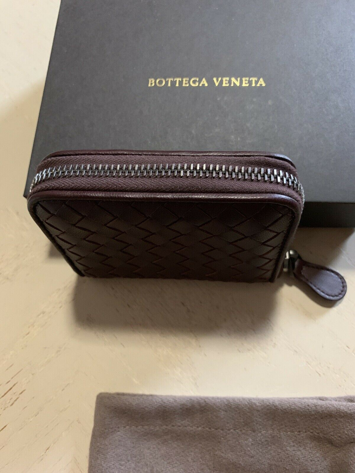 New Bottega Veneta Mens Coin Purse Zipper Wallet Burgundy 258468 Italy