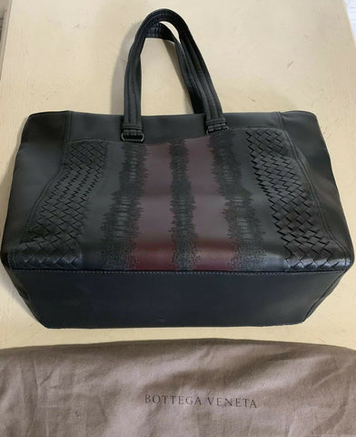 New $4200 Bottega Veneta Men Soft Leather Handdag Travel Bag Black/Burgundy Ita