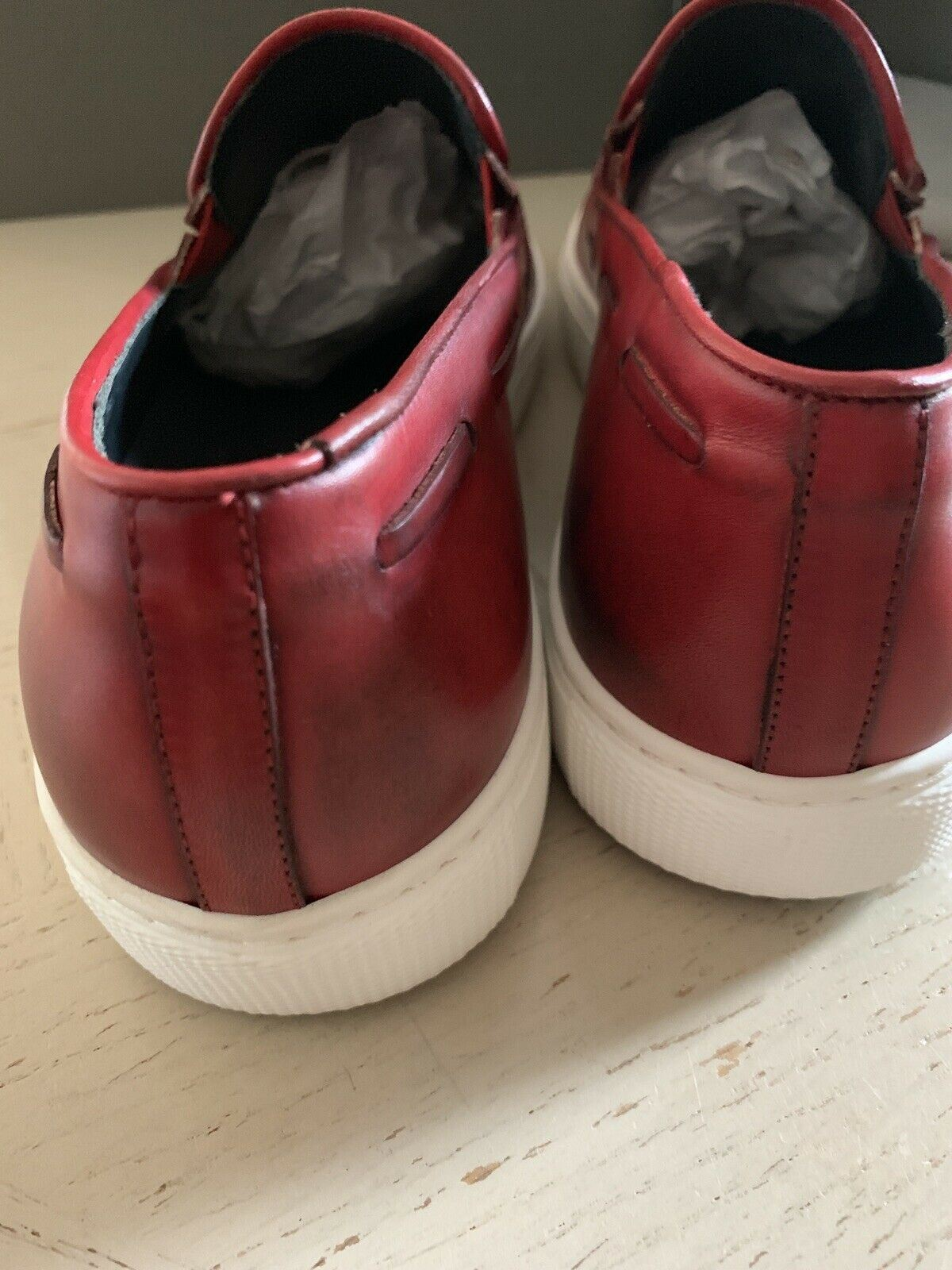 New $650 Canali Mens Leather Sneakers Shoes Burgundy 9 US ( 42 Eu ) Italy