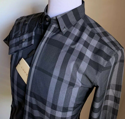 NWT Burberry London Mens Dress Shirt Color Pewter Size M