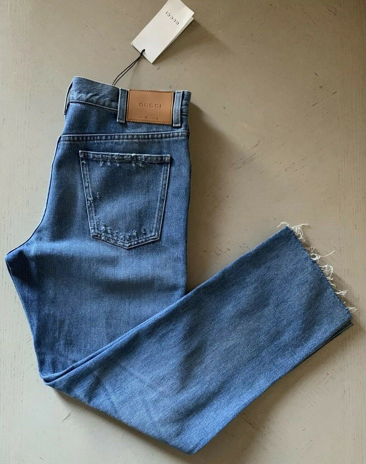 New $935 Gucci Mens Jeans Pants LT Blue 34 US Made in Italy
