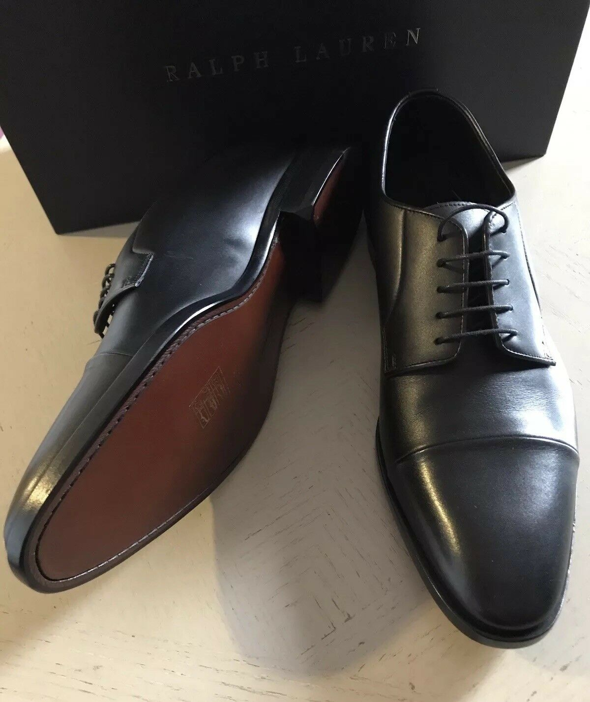 New $695 Men's Ralph Lauren Purple Label Leather Oxfords Shoes Black 9.5 US Ita