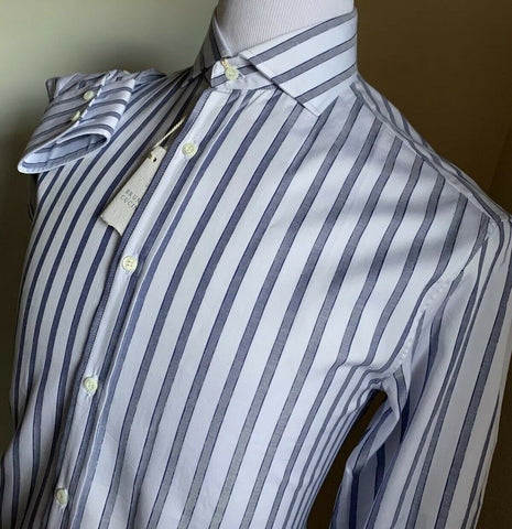 NWT $695 Brunello Cucinelli Mens Dress Shirt Basic Fit Blue/White M Italy