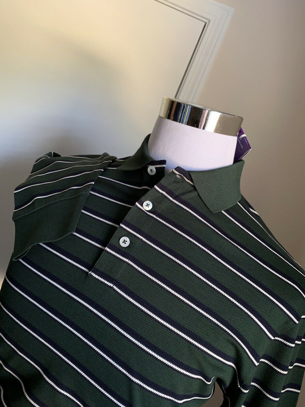 NWT $450 Ralph Lauren Purple Label Men Long Sleeve Polo Shirt Green L Italy