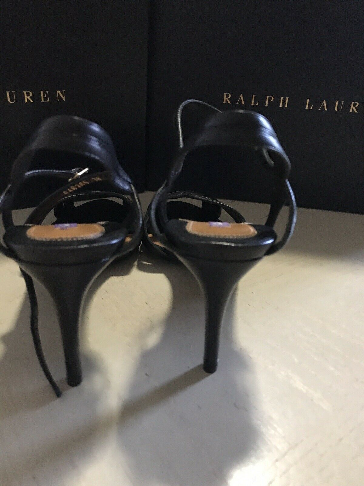 NIB $795 Ralph Lauren Collection Women's Sandal Shoes Black 8 US ( 38 Eu ) Italy